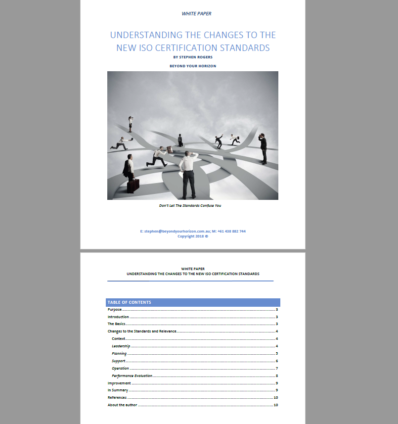 WHITE PAPER - UNDERSTANDING THE CHANGES TO THE NEW ISO CERTIFICATION STANDARDS